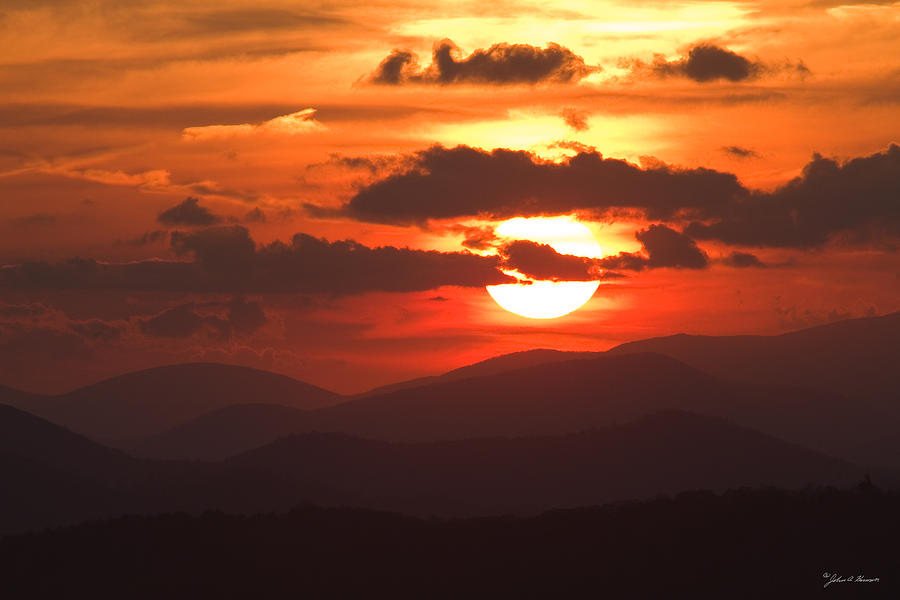 Sun Photograph - Sunset From The Blue Ridge Parkway by John Harmon