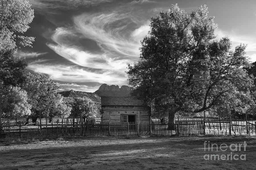 Black & White Photograph - Sunset In Grafton Ghost Town by Sandra Bronstein