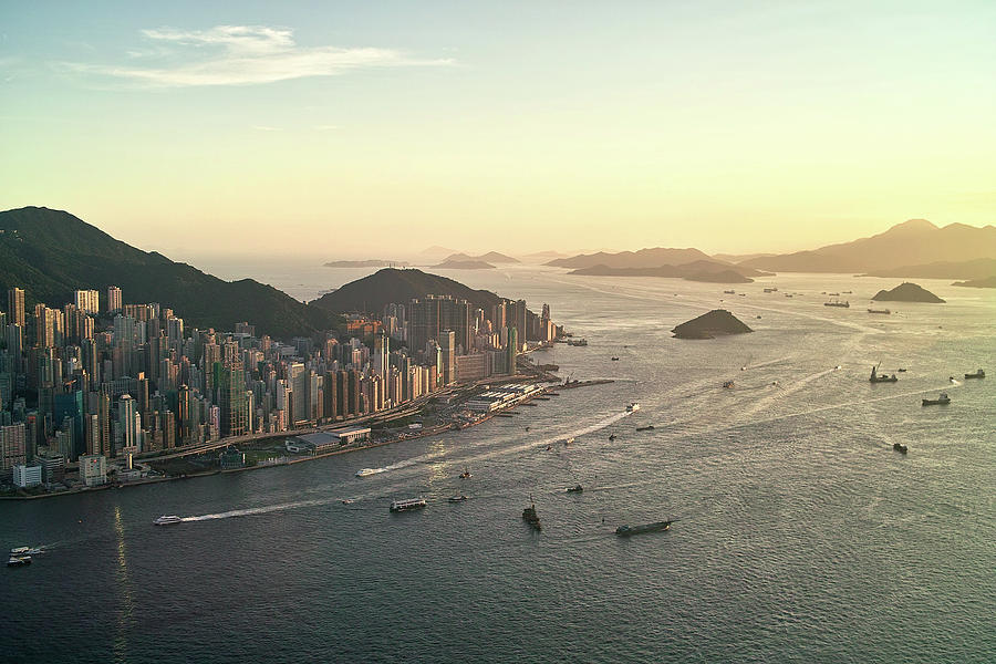 Horizontal Photograph - Sunset Of Hong Kong Victoria Harbor by Jimmy LL Tsang