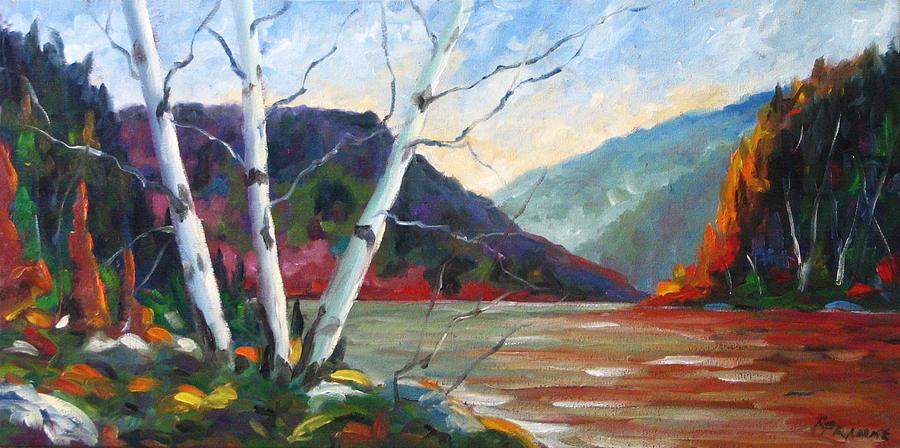 Landscape; Landscapes/scenic; Birches;sun;lake;pranke Painting - Sunset On The Lake by Richard T Pranke