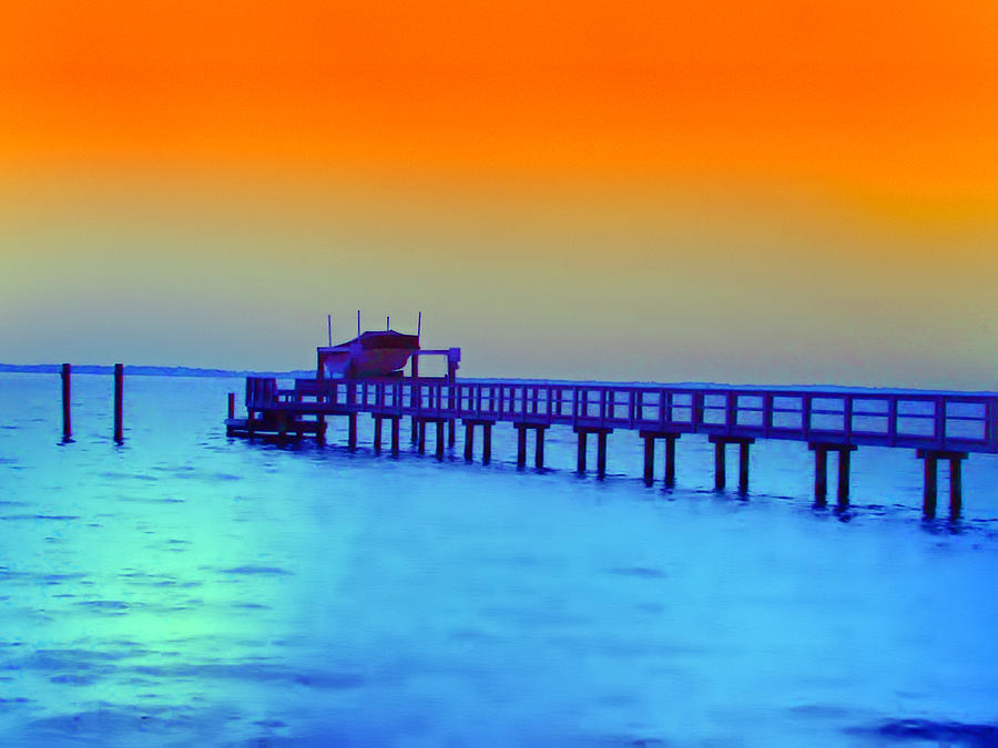 Florida Photograph - Sunset On The Pier by Bill Cannon