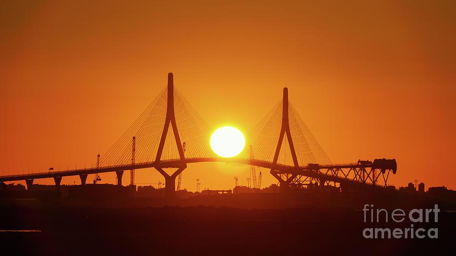 Sunset Over 1812 Constitution Bridge Cadiz Spain Photograph