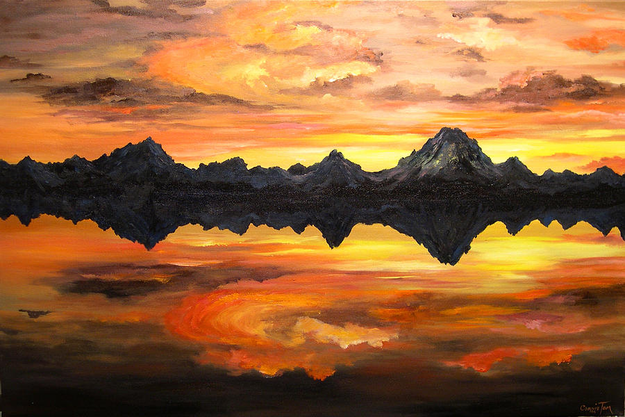 Connie Tom Painting - Sunset Over Jackson Lake And The Grand Tetons by Connie Tom
