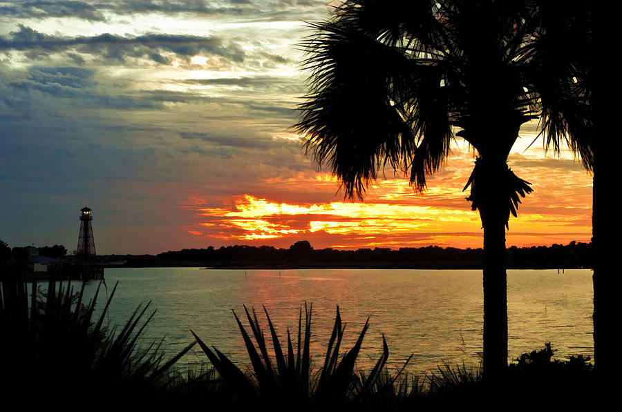 The Villages Photograph - Sunset Over Lake Sumter Landing by Betty Eich