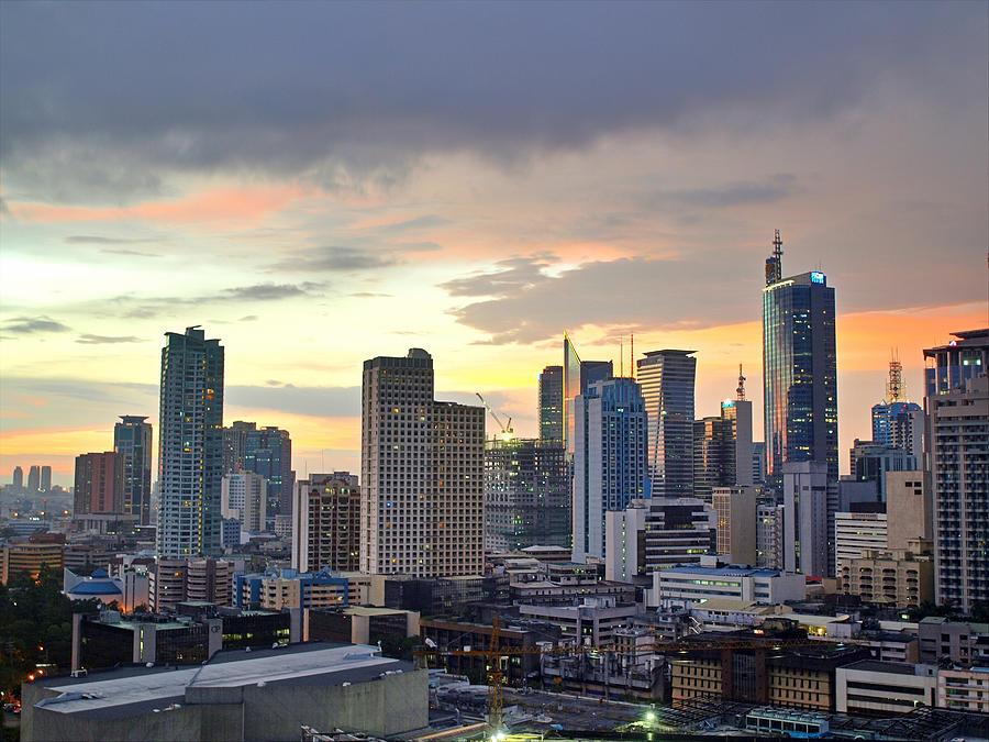 Horizontal Photograph - Sunset Over  Makati City, Manila by Neil Howard