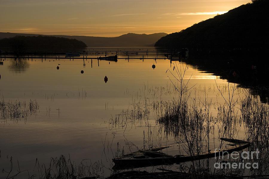 Sunken Boat Photograph - Sunset Over The Lake by Carole Lloyd