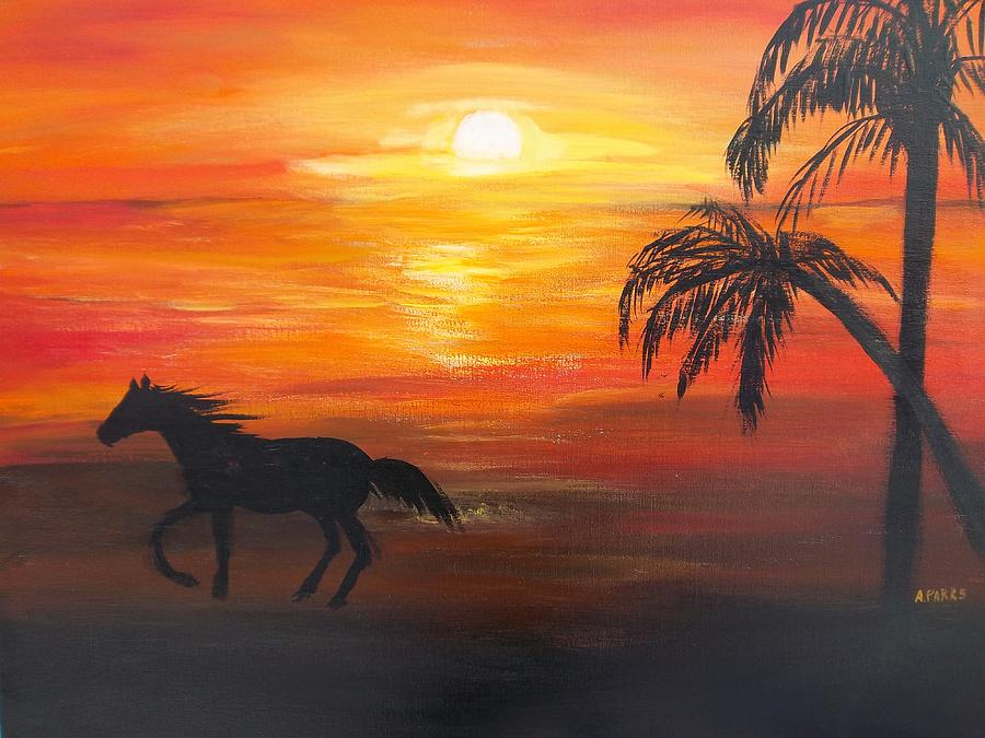 Sunset Run Painting by Aleta Parks