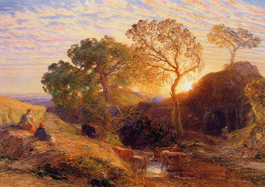 Sunset Painting - Sunset by Samuel Palmer