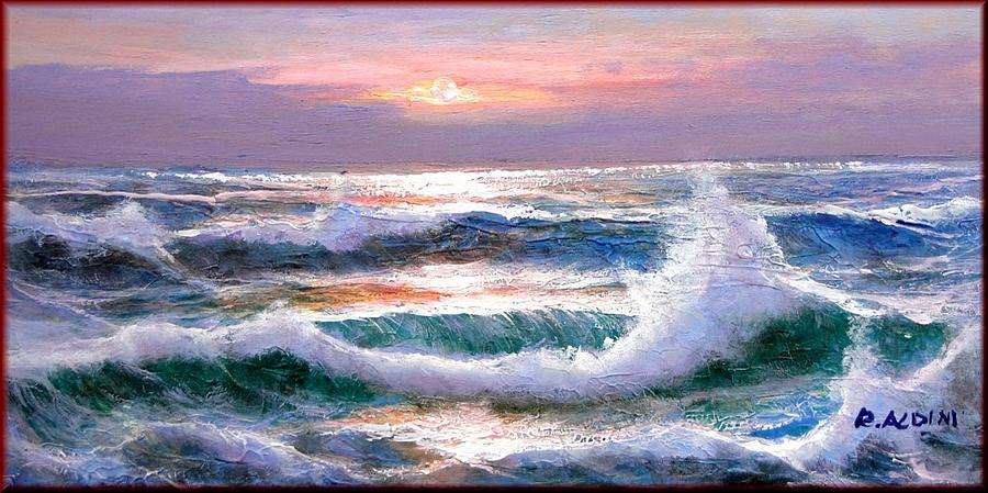Painting Sea Storm Painting - Sunset Sea Storm by Rino Aldini