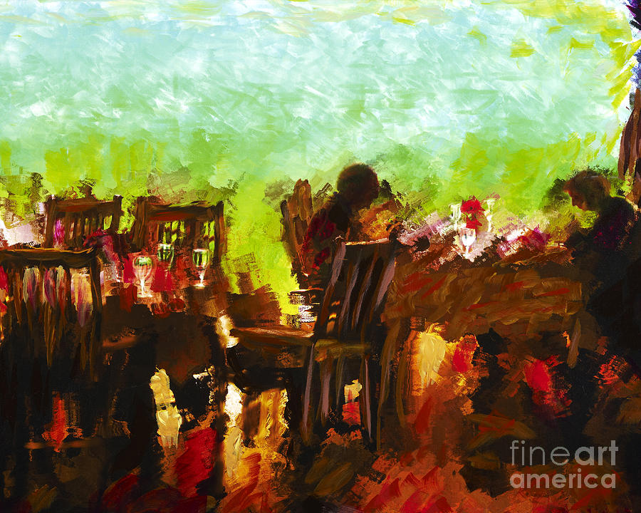 Dining Mixed Media - Sunset Terrace Intimacy by Marilyn Sholin
