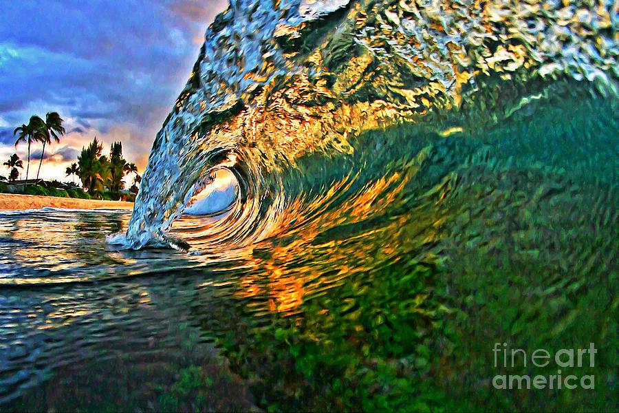 Ocean Painting - Sunset Tube by Paul Topp