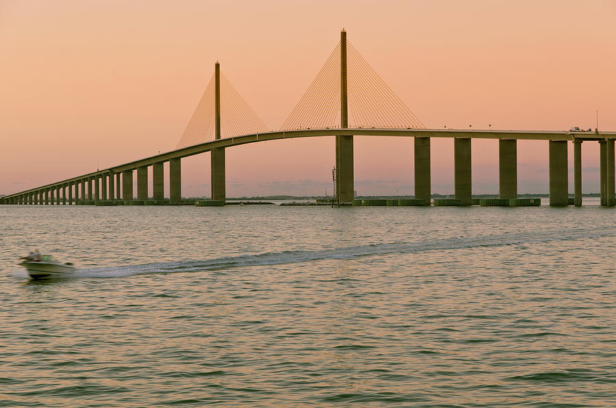 Horizontal Photograph - Sunshine Skyway Bridge by Ixefra