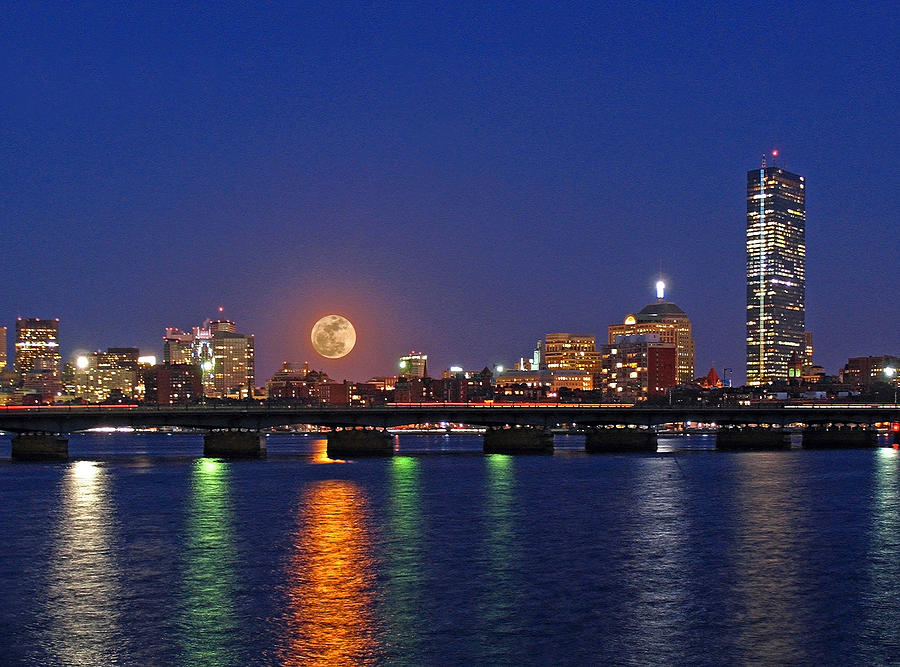 Boston Photograph - Super Moon Over Boston by Juergen Roth