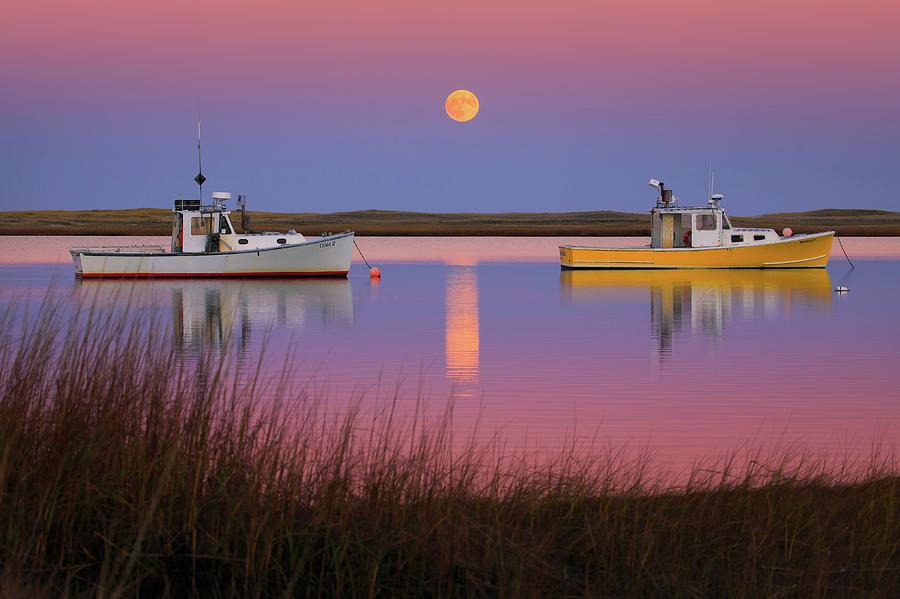 Super Moon Photograph - Super Moon Over Nauset Beach Cape Cod National Seashore by Dapixara Art