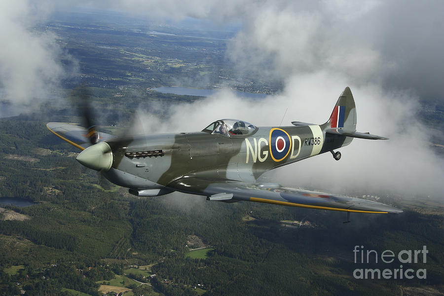 Transportation Photograph - Supermarine Spitfire Mk.xvi Fighter by Daniel Karlsson