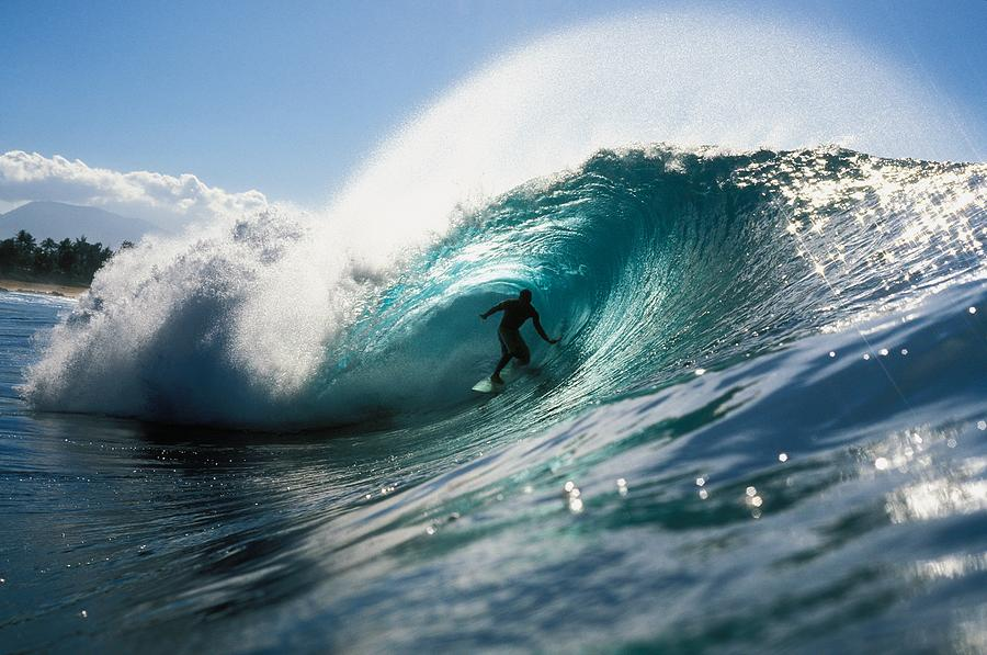 Adrenaline Photograph - Surfer At Pipeline by Vince Cavataio - Printscapes