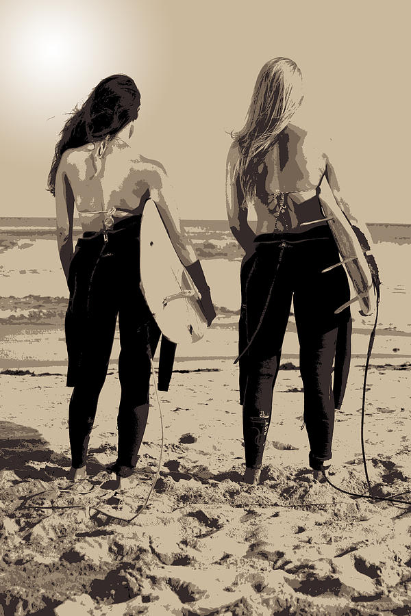 Surf Photograph - Surfer Girls by Brad Scott