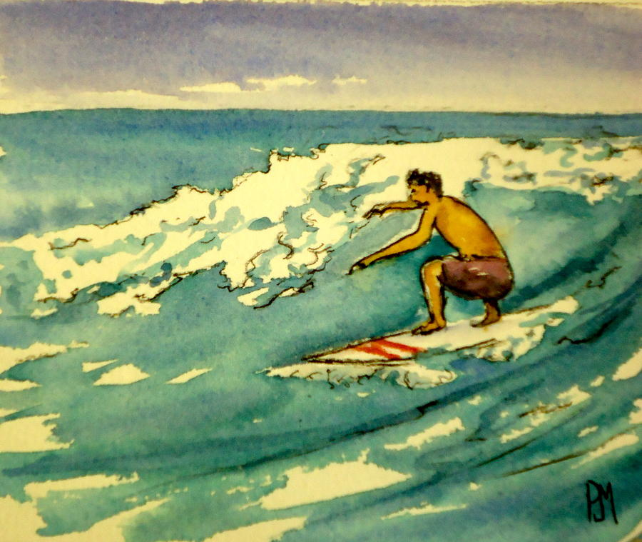 Surfer In The Sky Painting