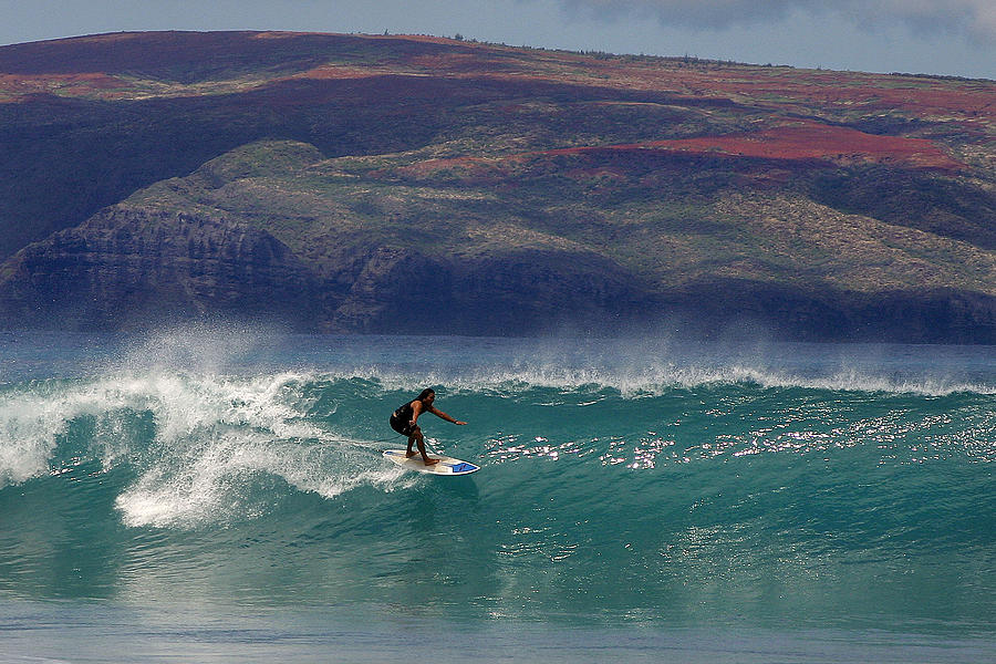 Surfer Photograph - Surfer Surfing The Blue Waves At Dumps Maui Hawaii by Pierre Leclerc Photography