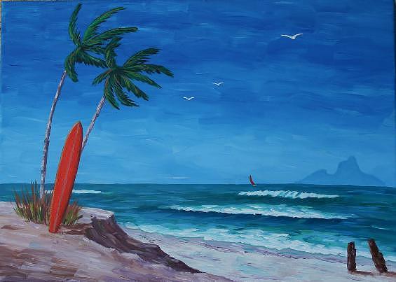 Bob Phillips Surf Art Painting - Surfing Bora Bora by Bob Phillips