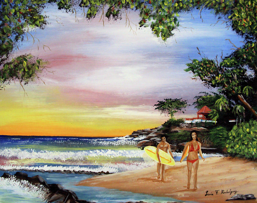 Surfing Painting - Surfing In Rincon by Luis F Rodriguez
