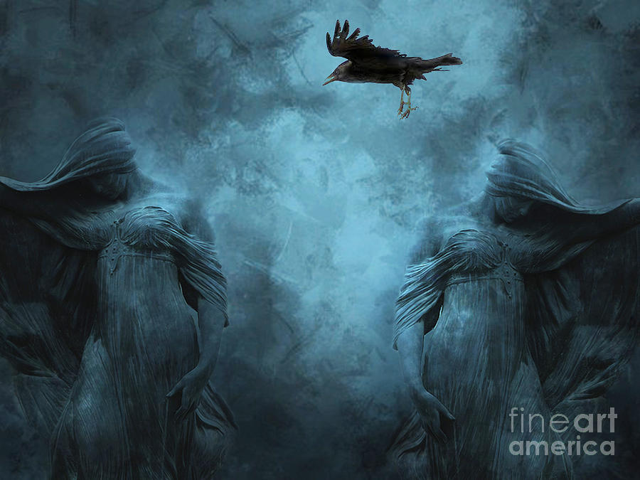 Gothic Fantasy Photos Photograph - Surreal Gothic Cemetery Mourners And Raven by Kathy Fornal