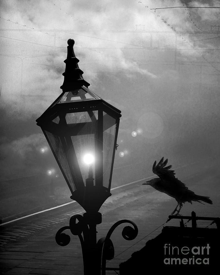 Surreal Gothic Raven With Night Stars Lantern - Haunting Raven Black ...