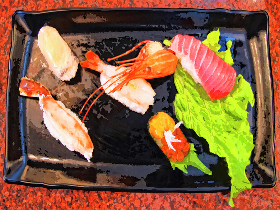 Sushi Plate Mixed Media - Sushi Plate 2 by Dominic Piperata