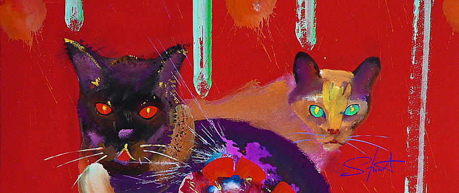 Cat Painting - Suspicious Minds by Charles Stuart