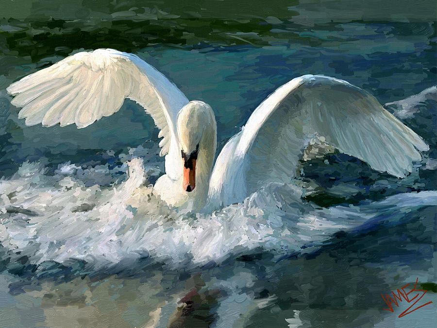 Impressionism Painting - Swan Lake by James Shepherd