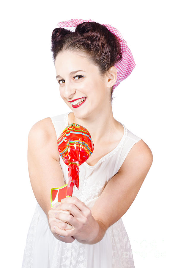 Confectionery Photograph - Sweet Lolly Shop Lady Offering Over Red Lollipop by Jorgo Photography - Wall Art Gallery