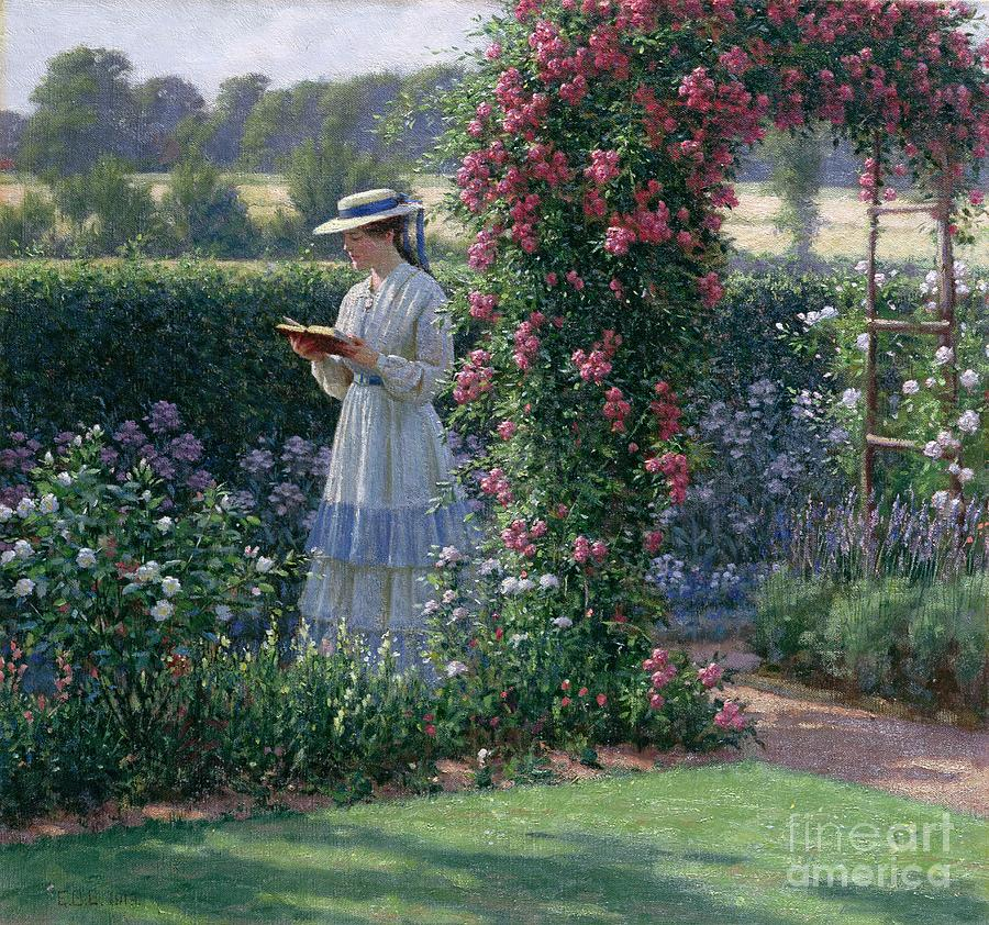 Garden; Reading; Book; Woman; Lawn; Flower;rose; Bed; Hedge; Climbing; Arch; Path Painting - Sweet Solitude by Edmund Blair Leighton