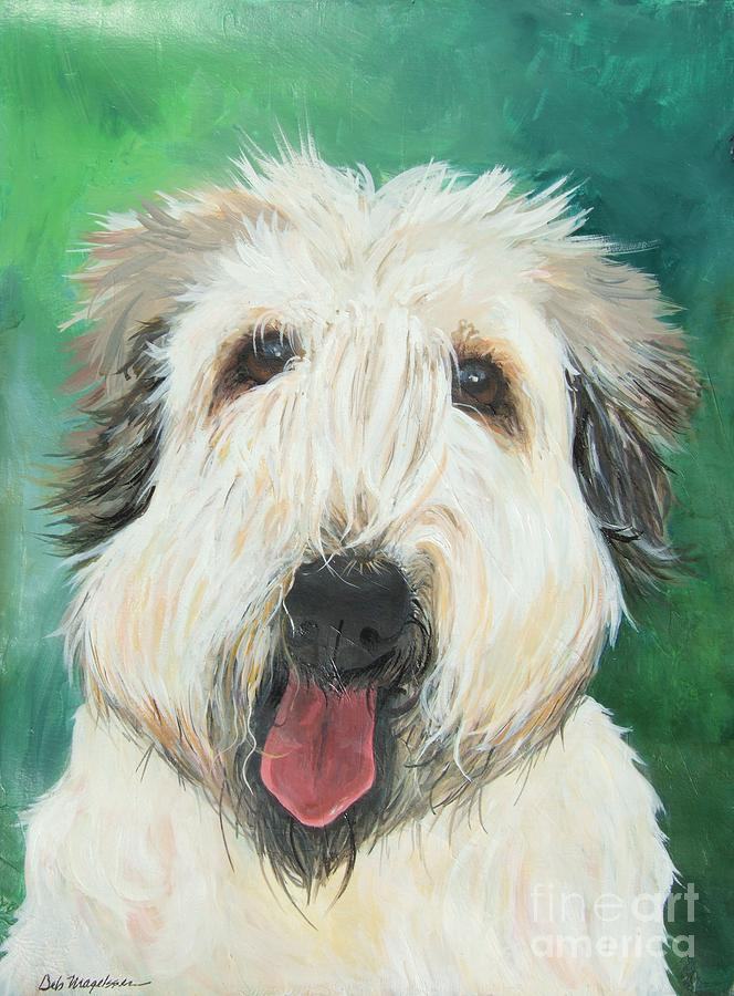 Abstract Dog Paintings Painting - Sweet Wheaton by Deb Magelssen