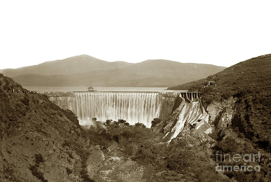 Sweetwater Dam Showing Overflowing Water, San Diego Circa 1900 Photograph