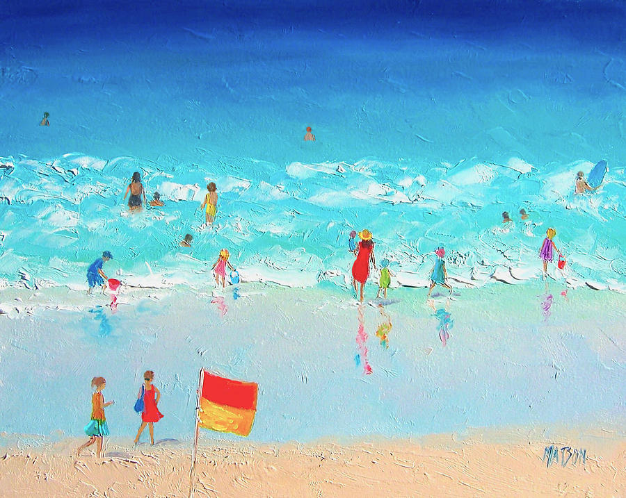 Beach Painting - Swim Day by Jan Matson