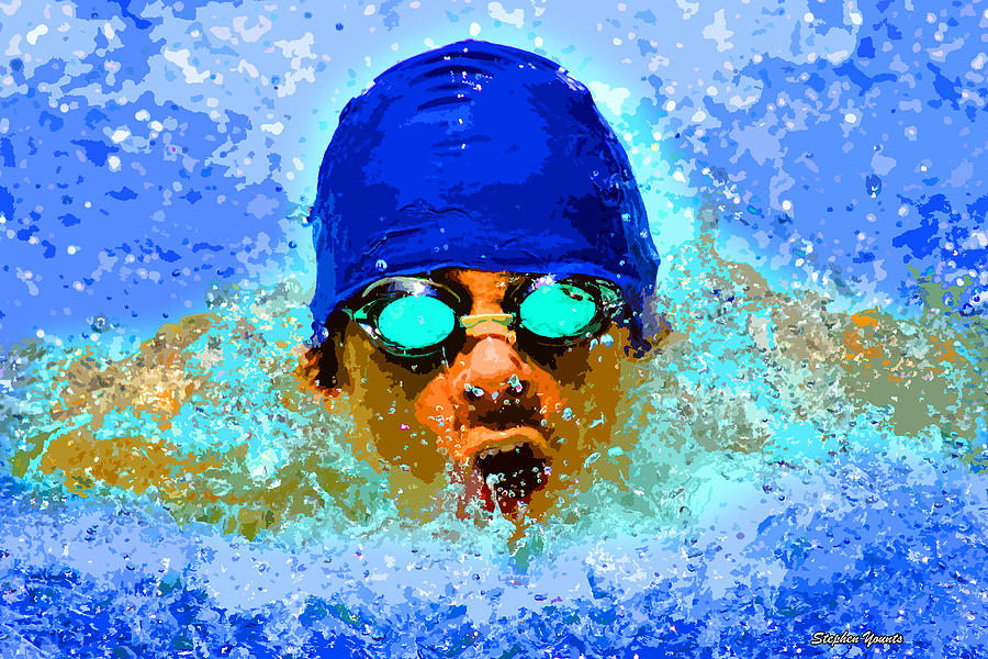 Swimmer Digital Art - Swimmer by Stephen Younts