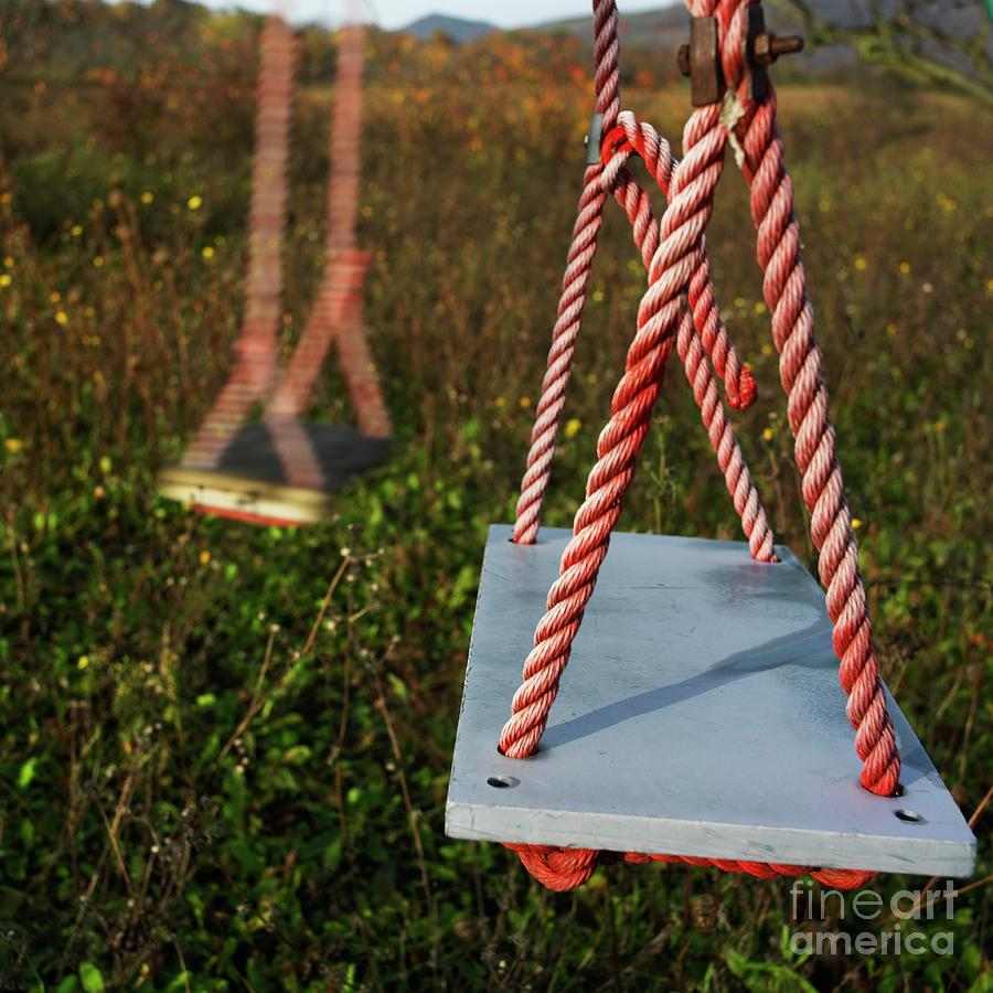 Abandoned Photograph - Swings by Bernard Jaubert