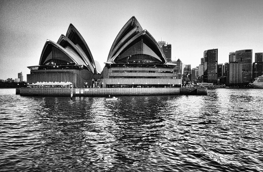 Sydney Opera House Photograph - Sydney Opera House-black And White by Douglas Barnard