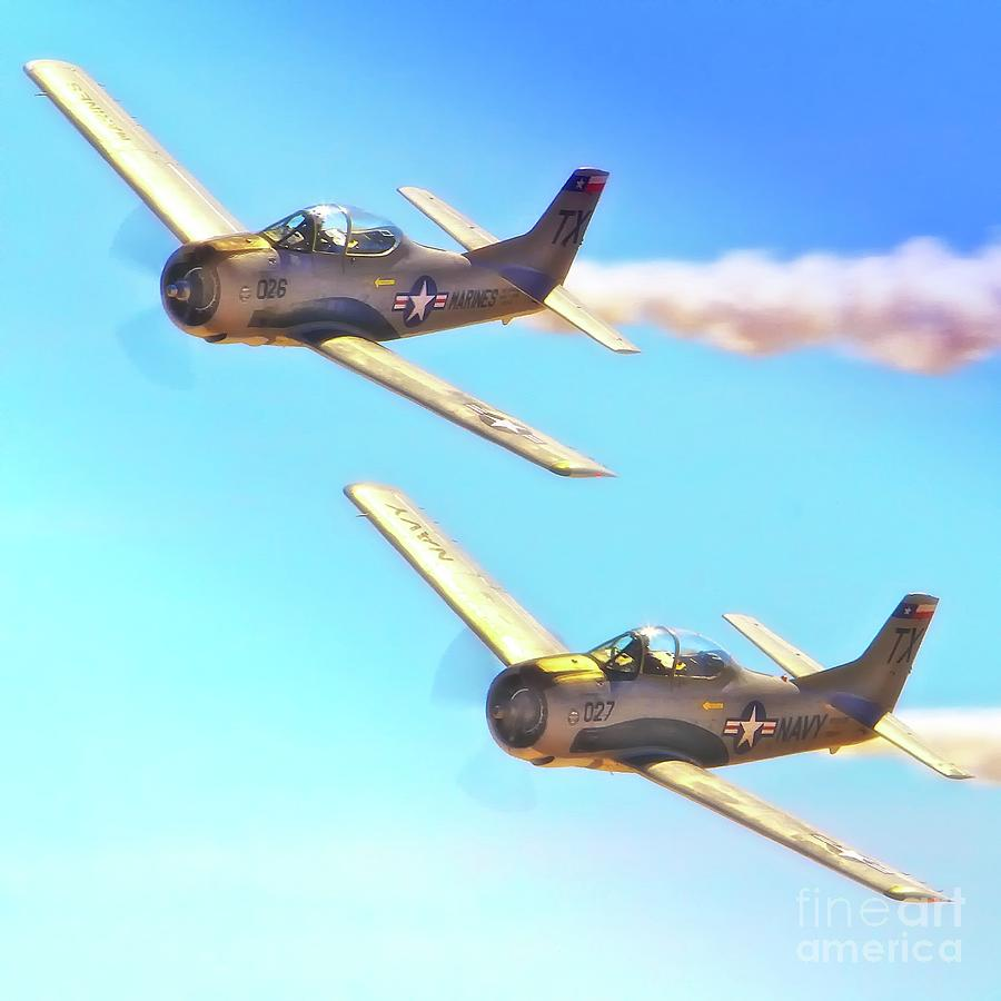 Airplane Photograph - T-38s Fly Tandem by Gus McCrea