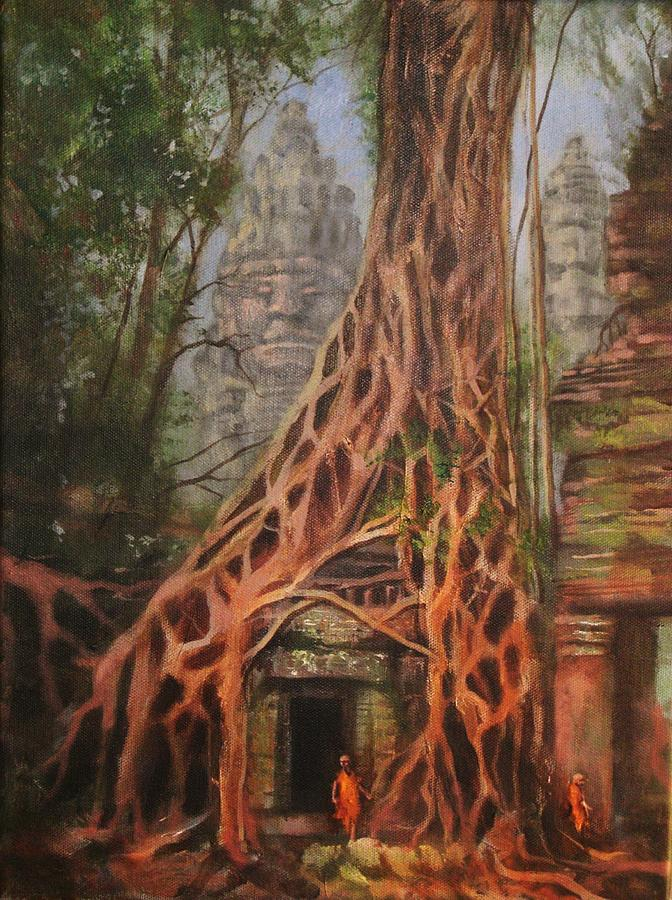 Ancient Ruins Painting - Ta Prohm Cambodia by Tom Shropshire