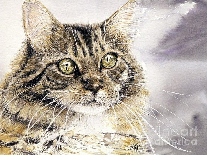 Cat Artwork Painting - Tabby Cat Jellybean by Keran Sunaski Gilmore