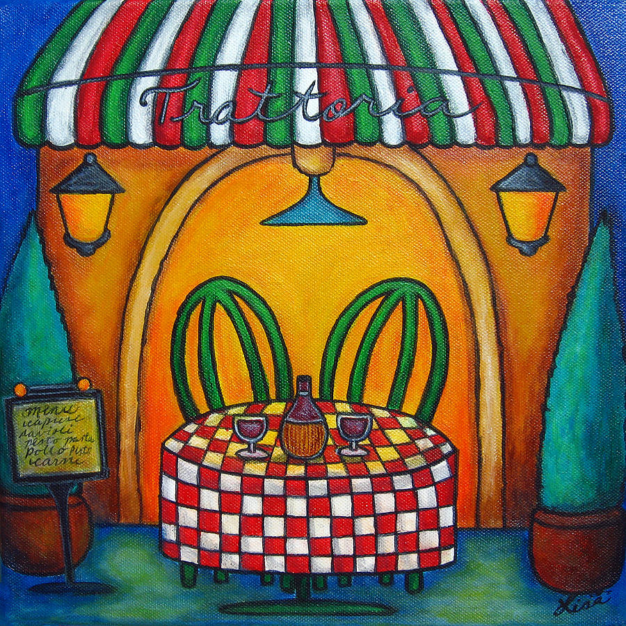 Table Painting - Table For Two At The Trattoria by Lisa  Lorenz