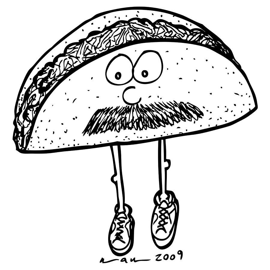 Taco Mustache Drawing