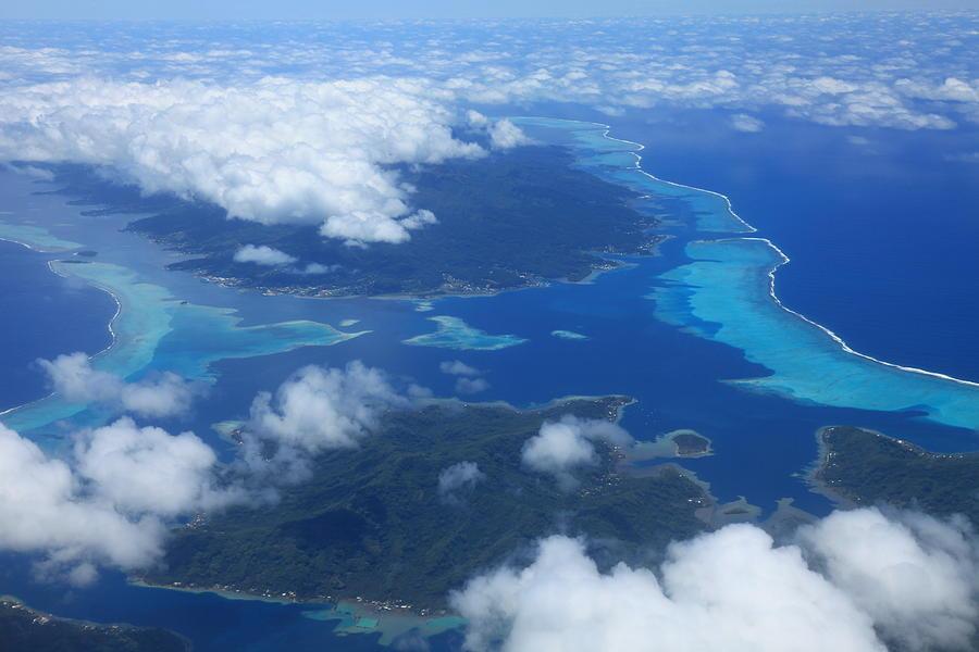Tahiti Photograph - Tahiti Reefs From The Air by Owen Ashurst