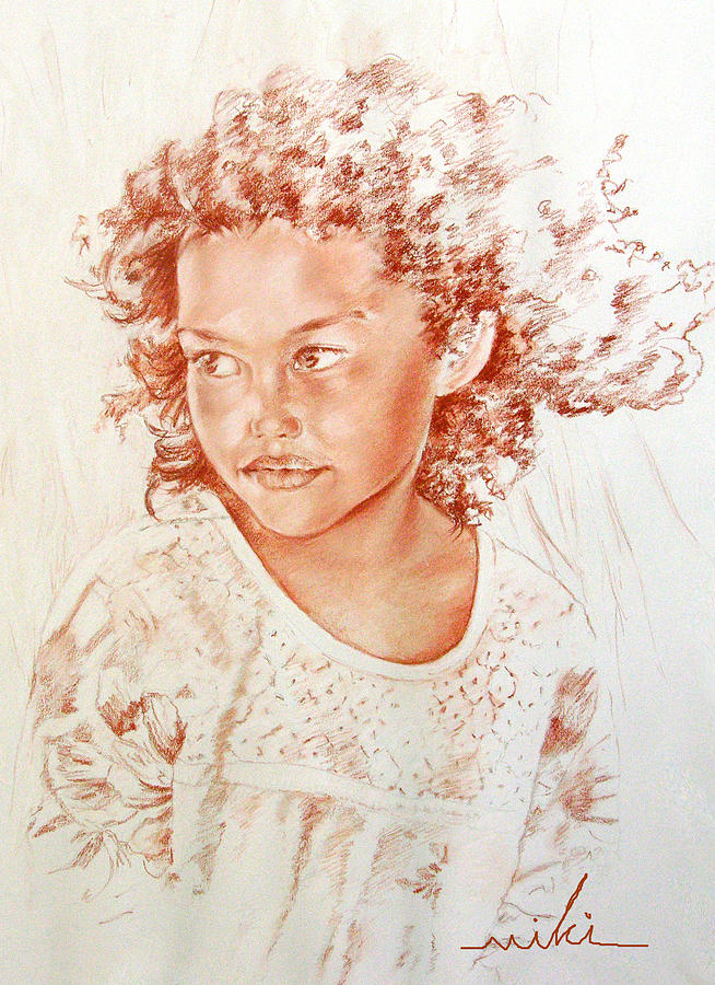 Drawing Persons Painting - Tahitian Girl by Miki De Goodaboom