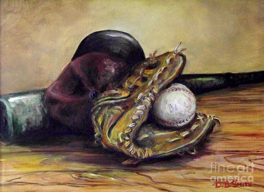 Base Ball Cap Painting - Take Me Out To The Ball Game by Deborah Smith