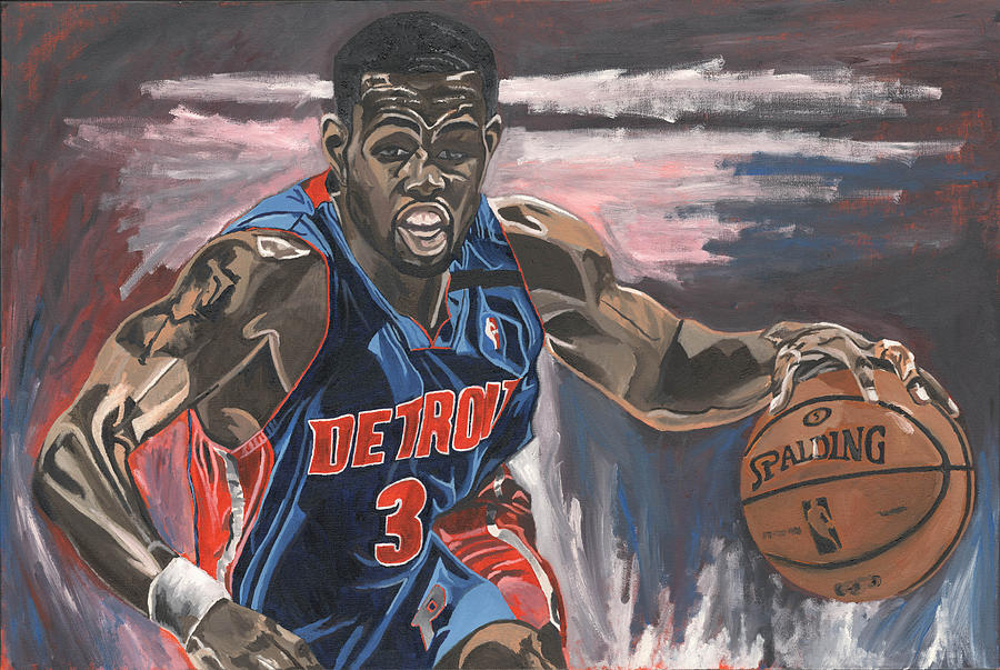 Rodney Stuckey Detroit Pistons Nba Basketball David Courson Sports Paintining Painting - Taking The Point by David Courson