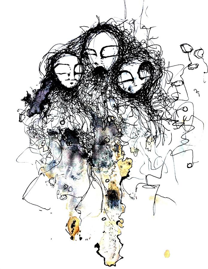 Pen And Ink Drawing - Talking To Yourself Again by Mark M  Mellon