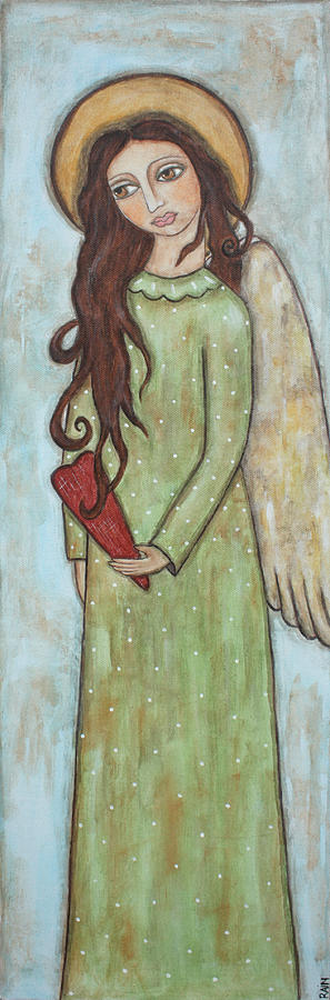 Folk Art Paintings Painting - Tall Angel With Heart by Rain Ririn