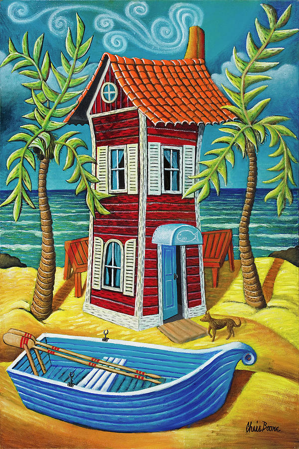 Red House Painting - Tall Red House by Chris Boone